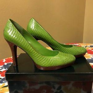 Lauren, Ralph Lauren, Maria, Lime Snakeskin, 10B